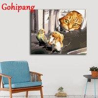 額装40 × 50センチにペイントキャンバスdiyデジタル油絵による数字ホーム装飾クラフトギフト動物犬16x20in