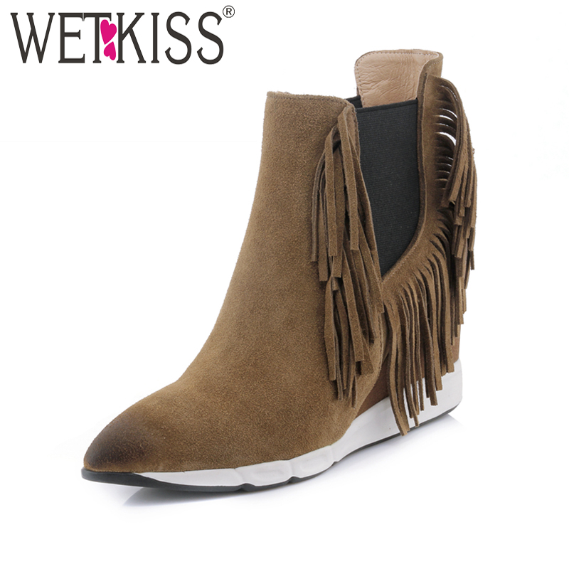 WETKISS Charming Tassel Ankle Boots High Wedge Heel Suede Shoes Women's Shoes Winter Boots Leather Slip On Elastic Band Shoes nayiduyun women genuine leather wedge high heel pumps platform creepers round toe slip on casual shoes boots wedge sneakers
