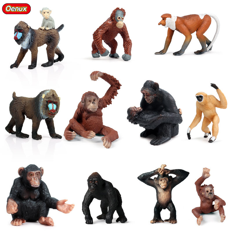 Oenux Original Wild Animals Chimpanzee Orangutan Gorilla Monkey Model Action Figures Animal Miniature Figurine Toy For Kids Gift