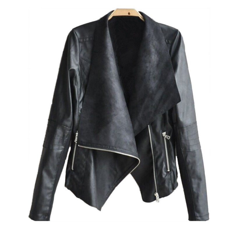 Women Faux   Leather   Irregular Jackets Slim Biker Moto Bomber PU Zipper Punk Coat Fashion Women Pockets Jackets