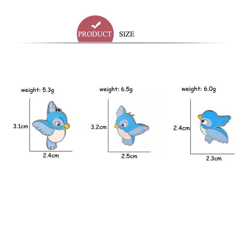 Desain Kreatif Burung Biru Kartun Bros Anak-anak Logam Lencana Di Ransel Pakaian Dekorasi Wanita Enamel Pin Bros Hadiah