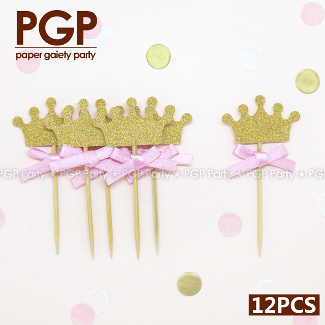 PGP] pink bow gold glitter crown cupcake topper, for Princess kids ...
