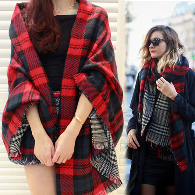 Houndstooth Winter Warm Shawl Womens Fashion Tippet Poncho Cape Cashmere Double Faced Plaid Blanket Scarf Brand Wrap Sq113
