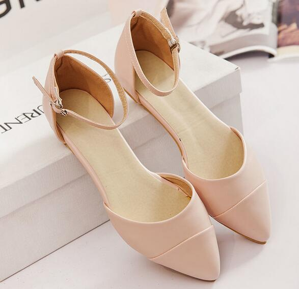 New 2016 Spring Summer Fashion low Sweet Pointed toe Flat Girl casual sandal Women shoes new 2017 spring summer women shoes pointed toe high quality brand fashion womens flats ladies plus size 41 sweet flock t179