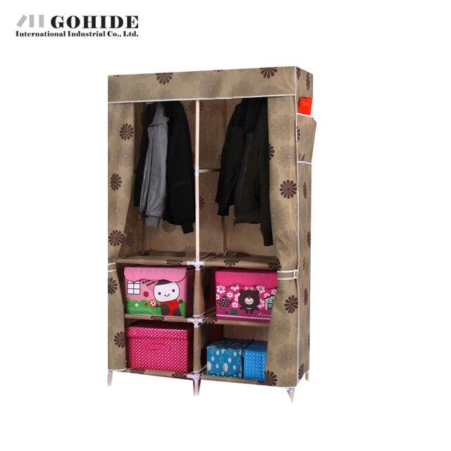 Gohide Solid Wood Wardrobe Simple Folding Cloth Wardrobe Home Furnishing Decoration Closet Wardrobes Cabinets Simple Folding