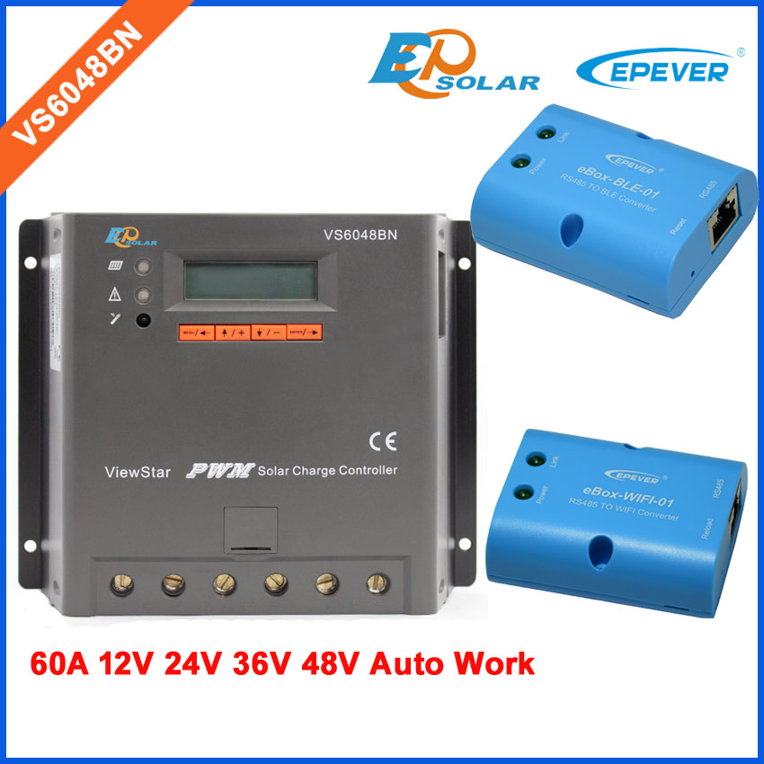 PWM 60A Solar power regulator VS6048BN built in lcd display 60amp with Wifi and BLE BOX 12v 24v 36v 48v built in desk power and data outlet tabletop hdmi usb power cable interconnect box 183x85mm ce compliant