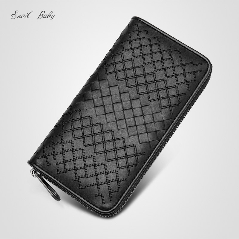 new high quality genuine leather wallet purse woven zipper cowhide wallet bag Long design genuine leather cltch wallets new oil wax leather men s wallet long retro business cowhide wallet zipper hand bag 2016 high quality purse clutch bag