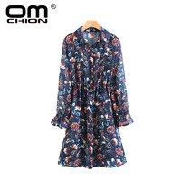 OMCHION New 2017 Vintage Women Tops Autumn Floral Printed Perspective Blouses Turn Down Collar Split Lantern
