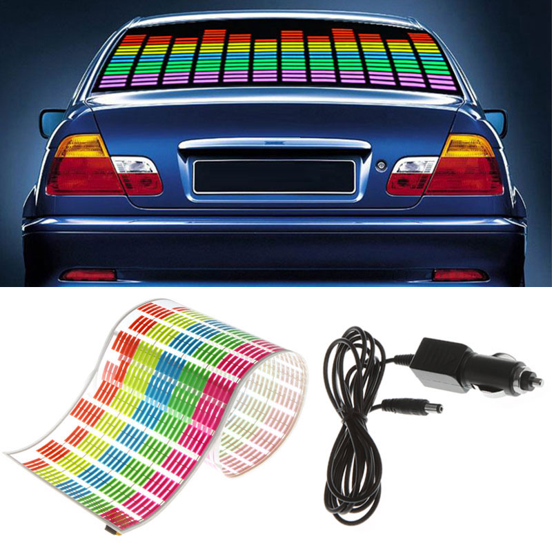 Car Sticker Music Rhythm LED Flash Light Lamp Sound Activated Equalizer Car Light Accessories Car Styling car light 1pcs 2pcs 45x11cm car music rhythm led flash light lamp sound activated equalizer car light panel lamp 1219