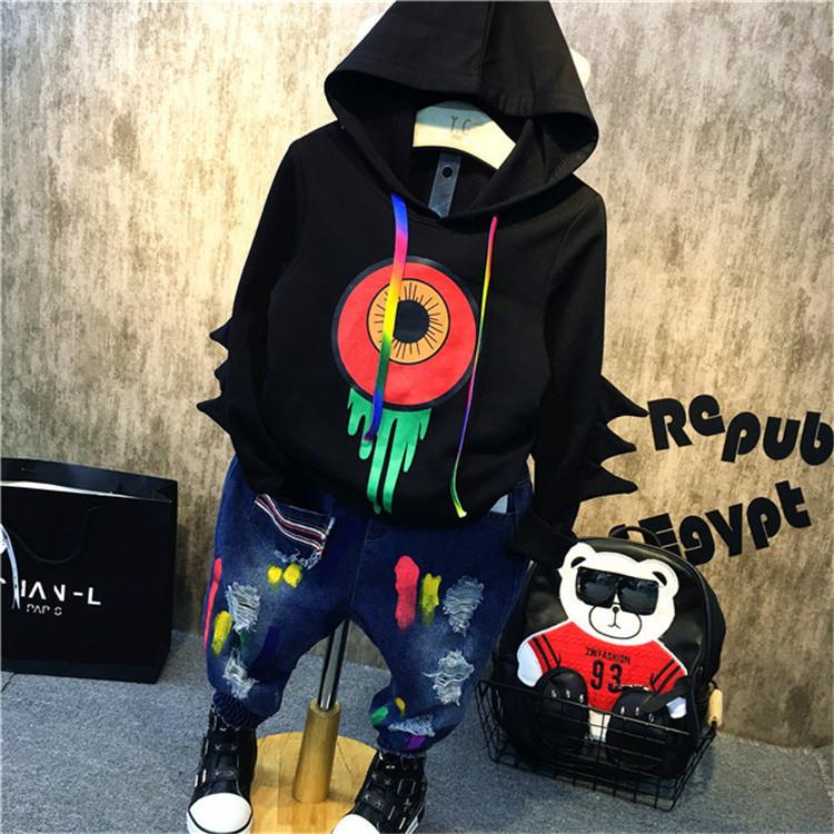 2pcs kids boys spring autumn clothing set hooded long sleeve cartoon printed hoodies and colorful holes jean set baby clothes