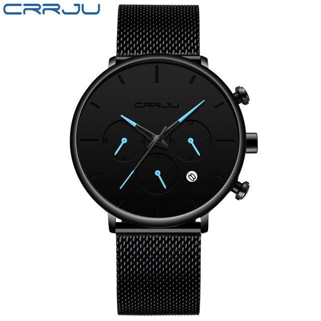 Luksusowy męski zegarek ze stali nierdzewnej stalowy pasek zegarki sportowe męski zegarek kwarcowy na co dzień mężczyźni zegarek słynny zegar CRRJU