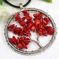 Trendy-beads Popular Silver Plated Red Coral Stone Wire Wrap Tree of Life Round Pendant Fashion Jewelry