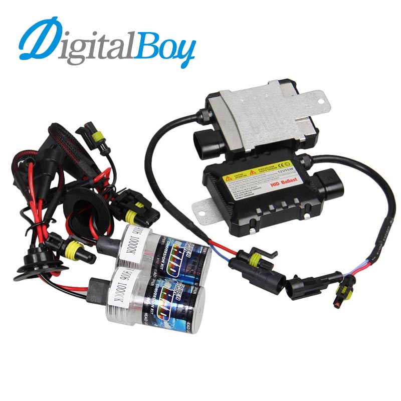 Digitalboy Brand 55W 12V Slim Ballast Xenon Block Kit HID Bulb Headlight 9006 HB4 Auto Car Headlamp Car Light Source Fog Lights digitalboy 12v dc 35w hid h1 xenon ballast kit slim block with bulbs lights headlight 5000k 6000k 8000k car front light lamp