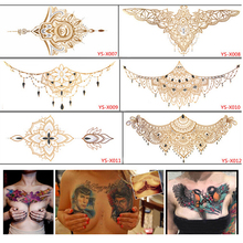 1Pc Waterproof Sexy Chest Back Gold Temporary Tattoo Stickers