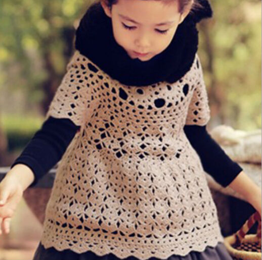Envío gratis 5 pc/lot de manga corta para niños hizo punto la tapa larga ropa niñas ahueca hacia fuera Knttied vestido de suéter blusa Smock