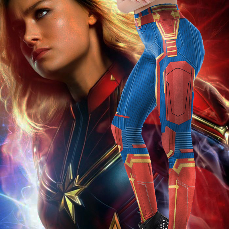 2019 Arrival   Leggings   WomenGym Captain Marvel Super Hero Printed Movie   Legging   Workout Fitness Plus Size Legins Carol Danvers