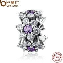 Bamoer 100% 925 joyería de plata esterlina forget me not spacer púrpura encantos ajuste pulsera joyería de los granos making pas286