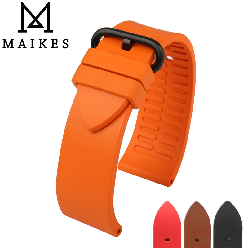 MAIKES Quality fluororubber watchbands 22mm 24mm Orange rubber watch strap band watch accessories for sports diving watches maikes 18mm 20mm 22mm watch belt accessories watchbands black genuine leather band watch strap watches bracelet for longines