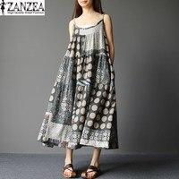 M 5XL ZANZEA Women Retro Floral Print O Neck Sleeveless Strappy Summer Loose Vestido Sundress Casual