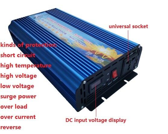 Peak Power 5000W continuous power 2500W Pure sine wave inverter DC DC 12V TO AC 220V 50HZ Solar Power Converter