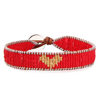 Red Crystal Seed Beads Charm Bracelet Heart-shaped Bracelets & Bangles for Woman Girl Handmade Genuine Leather Jewelry Gifts