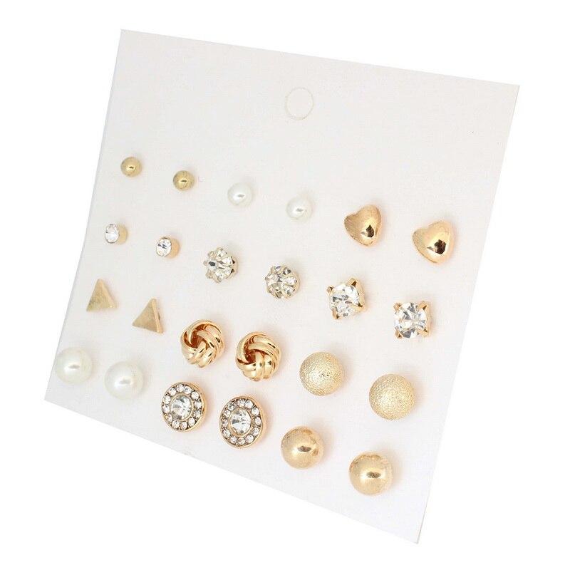 В Корейском стиле 12 пар Наборы для ухода за кожей круглый квадратный мяч сплав кристалл шпилька Серьги с жемчугом для Для женщин Лидер продаж Симпатичные серьги стержня