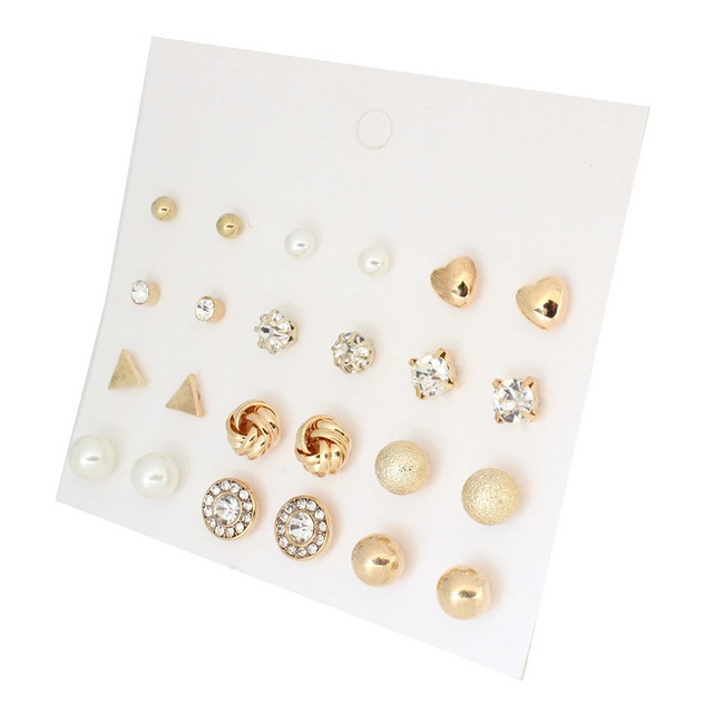 fa4f2fb06 Korea Style 12 Pairs Sets Round Square Ball Alloy Crystal Stud Pearl  Earrings For Women Hot-selling Cute Stud Earring