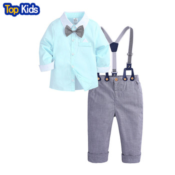 Baby Boys Formal Clothing Set Toddler Kids Outfits Gentleman Bow Tie Long Sleeve Shirt + Lattice Suspenders Pants MBC0596 1