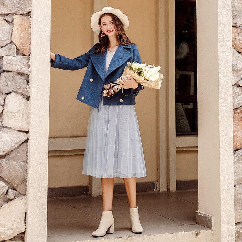 Lâche Court 2018 Plus Femmes Mode Femelle Laine Épais apricot Style La Manteau Mince Costume Hiver Blue Nouvelle Taille Ljj0197 Chaud De PPrwzqg4