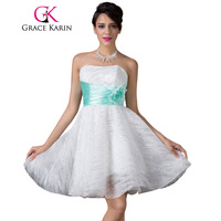 Free Shipping Grace Karin New White Strapless Lace Short School Homecoming Party Dress High Quality CL6211