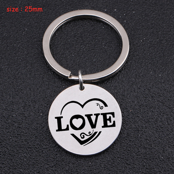 Fashion Round Heart Keychain Engraved LOVE For Lovers' Couple Wife Husband Trendy Gift Key Ring Holder Exclusive Charm Tag