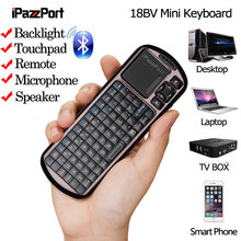 IPazzport 18BV Mini Wireless Bluetooth Mouse PC Keyboard Touchpad Backlit Remote For PC Tablet Phone Android TV Box Windows iOS