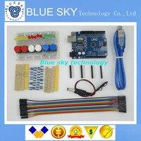 Free Shipping New Starter Kit UNO R3 Mini Breadboard LED Jumper Wire Button For Arduino Compatile
