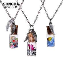 Necklace Natural Wishing-Bottle Dried-Flowers Vial-Statement Make Jewelry Rhinestone