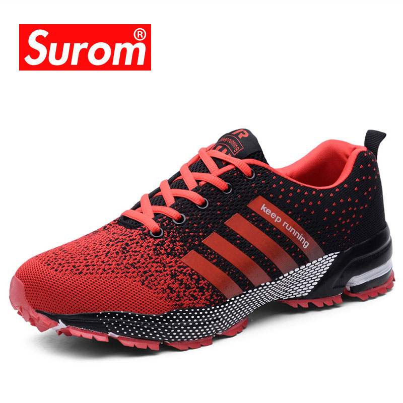 SUROM Unisex Running Shoes Men Women Outdoor Athletic Breathable Sneakers Men Lightweight Shoes Zapatos De Mujer Size 35~47
