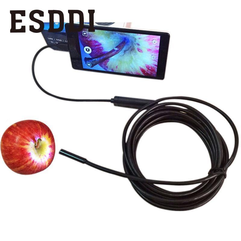 2017 Hot 2/5 M 7mm 6 Led 30 W Pixel Per Android Otg Endoscopio Macchina Fotografica Di Controllo Video Tubo Di Ispezione Professionale Mini Videocamera