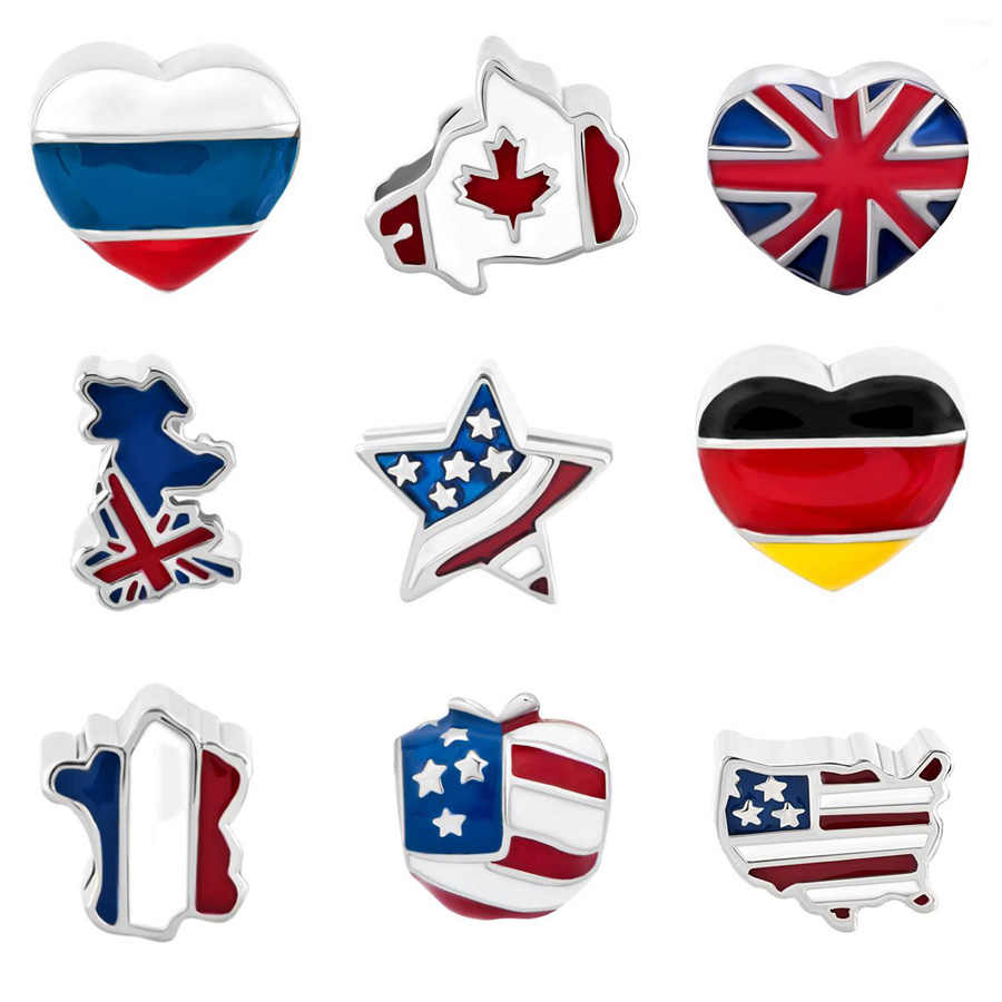 Slide charm free shipping DIY beads Canada United States British flag charm beads fit Pandora bracelet necklace
