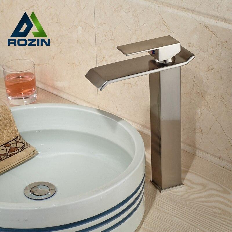 Nickel Brushed Single Handle Waterfall Bathroom Vanity Sink Faucet ...