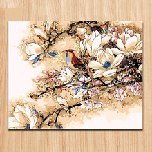 Coloring by numbers Magpies Diy oil painting  Flowers and birds picture on canvas paint with kits for girls