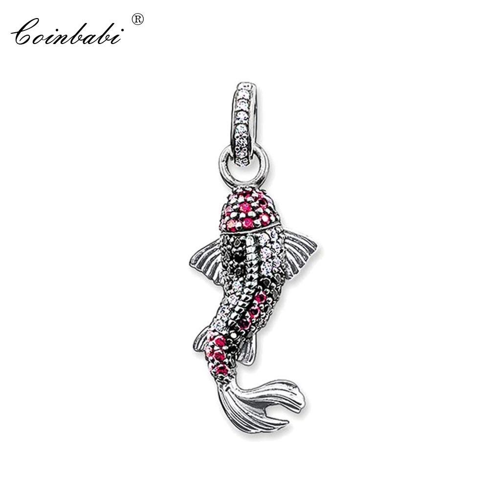 4a3704e3752e Colgante peces Koi de Plata de Ley 925 de valor para las mujeres regalo  clásico Thomas clave cadenas encantos de la joyería Fit Ts collar