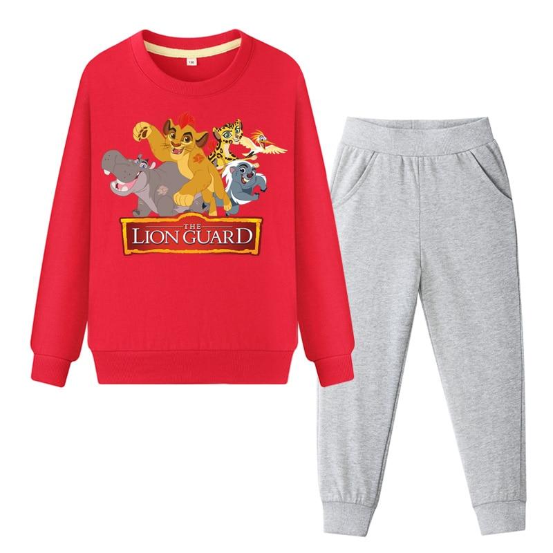 Kids Tracksuits Cartoon The Lion King Simba Print Clothes Set Boy Girl Children Autumn Cotton Clothing Sets Coat+Pant Suit DY120