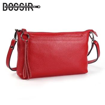Bolsos de mensajero de cuero genuino para mujer, bolso bandolera con borlas, bolsos de hombro de moda para mujer, bolsos de mano pequeños para mujer