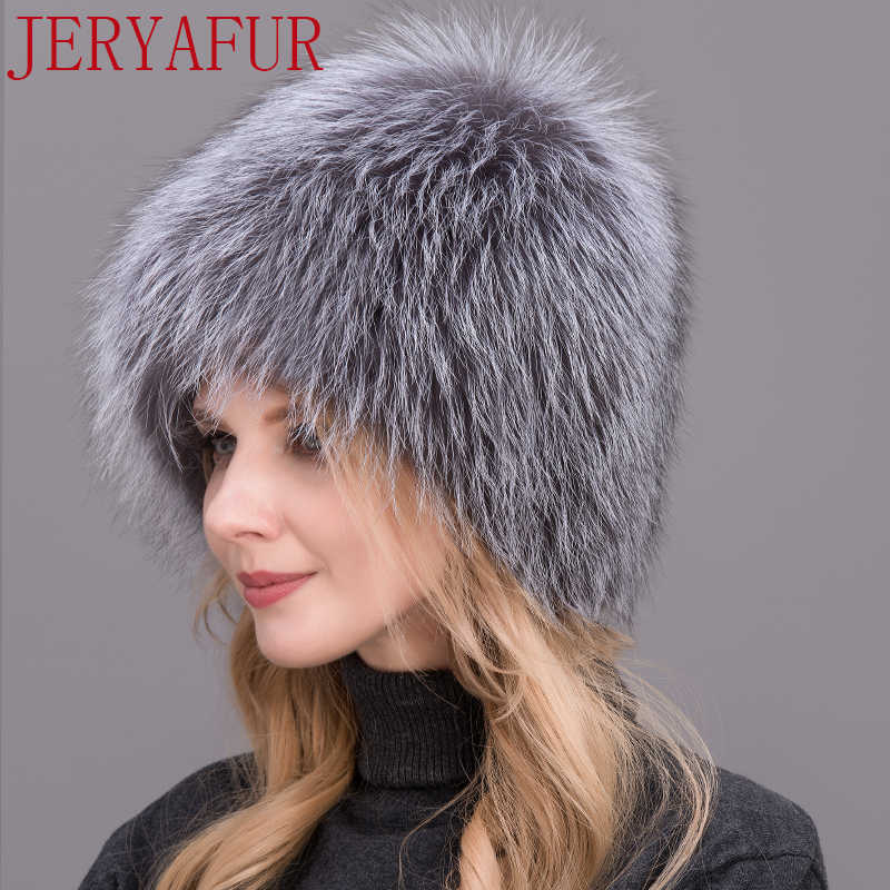 32fc548493f18 ... Winter lady fur cap real fox fur hat knitting silver fox fur cap female  Russian woman ...