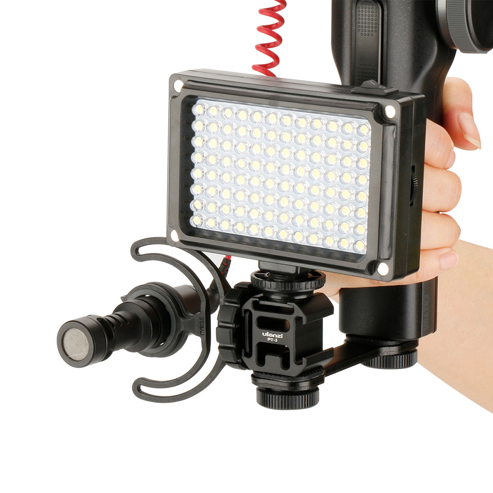 3 in 1 Pole Mount Bracket Triple 3 Cold Shoe For Flash LED Fill Light Extend Mic For