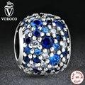 Original 925 de Plata Azul y Blanco Cristales de Piedra Fabricación de La Joyería Colgante Del Encanto Fit Pandora Pulsera y el Collar S133