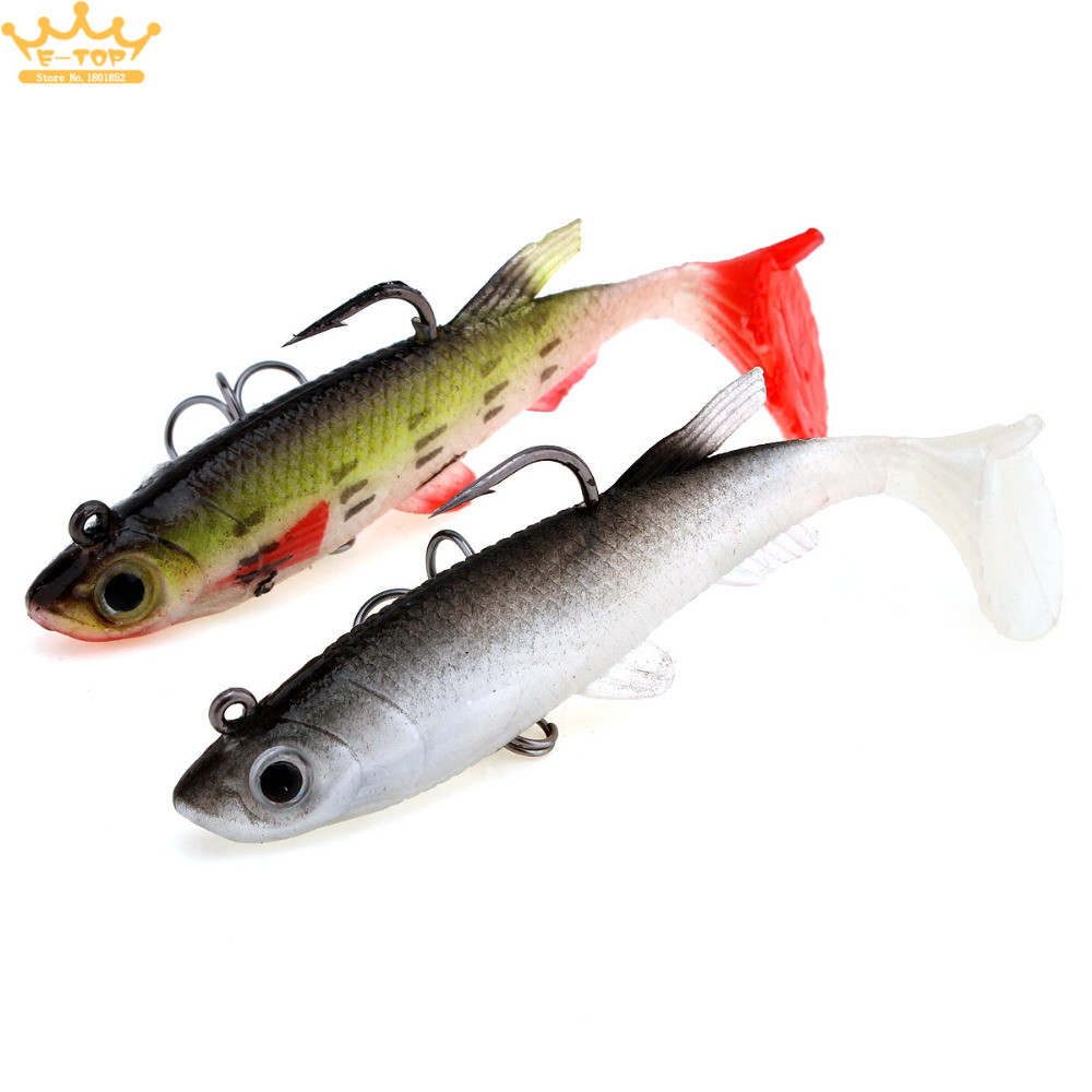 13g 3d fish eye soft bait lead fish lure with two for Fish eye hook