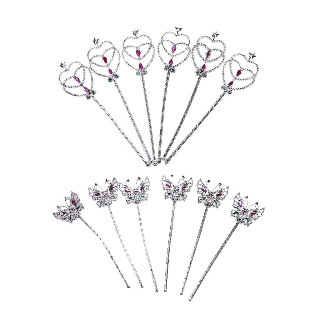 12pcs Fairy Silver Heart Butterfly Wands  Party Magic Sceptre