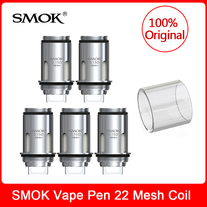 Original SMOK Vape Pen Mesh Coil 0.15ohm+Glass Tube Replacement Atomizer For Electronic Cigarette Smok Vape Pen 22 Vape Kit