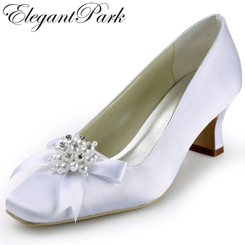 Woman Shoes  EP11108 White Red Square Toe Pearl Bow Chunky Med Heel Satin Ladies Pumps Women's Wedding Shoes Bridal Shoes Woman цены онлайн