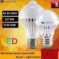 Lâmpada led motion sensor de luz 5 w 110 v 220 v lâmpada led 9 w e27 som + corpo da lâmpada infravermelha com motion sensor de luz auto levou inteligente luzes